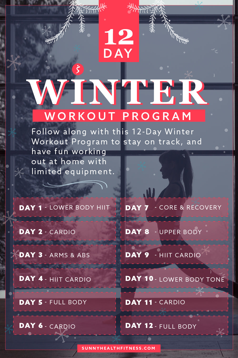 12 Day Winter Workout Program Infographic