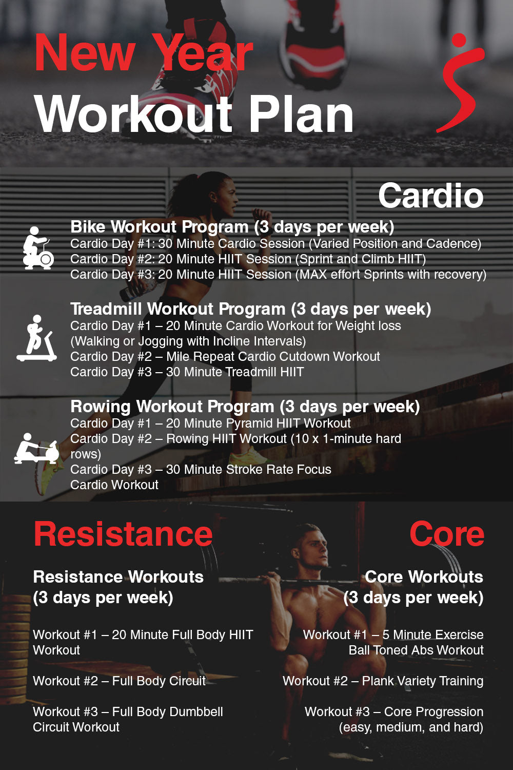 new year workout plan summary infographic