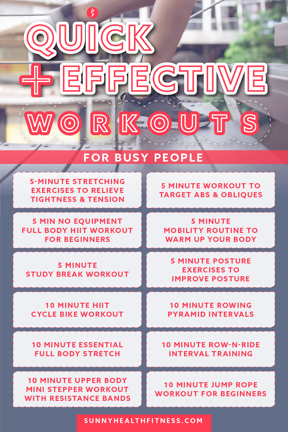 12 Quick & Effective Workouts for Busy People Infographic