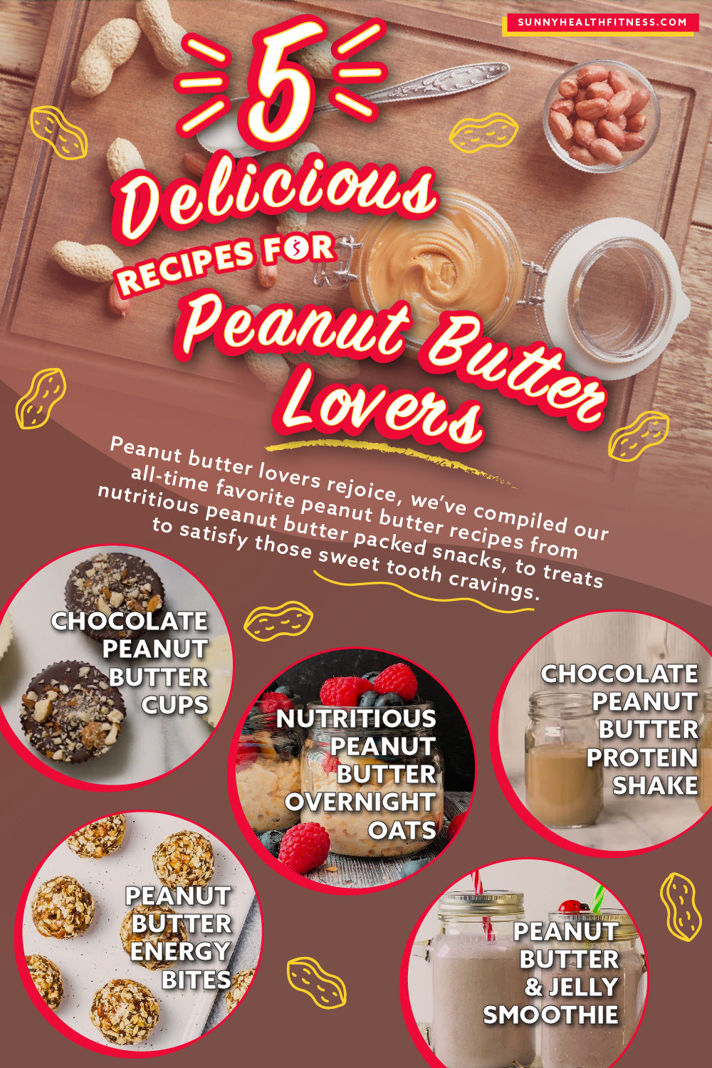 5 Delicious Recipes for Peanut Butter Lovers Infographic