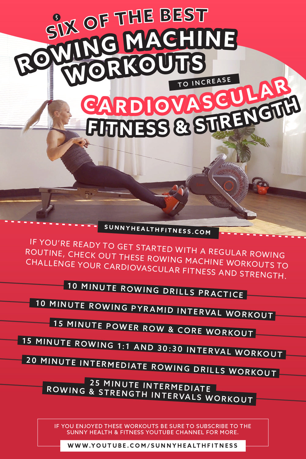 6 Best Rowing Machine Workouts Infographic
