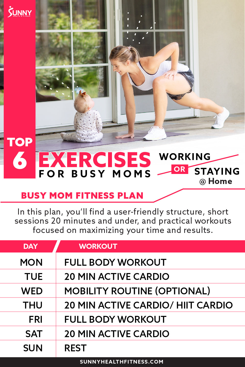 Top 6 Exercises Workout Plan for Busy Mom Schedule