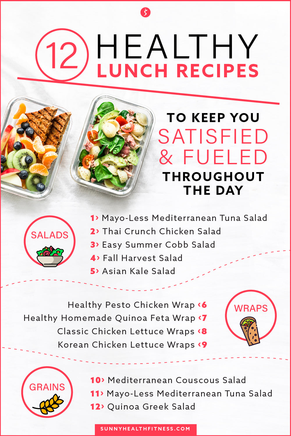 12 Healthy Lunch Recipes to Satisfy and Fuel Infographics