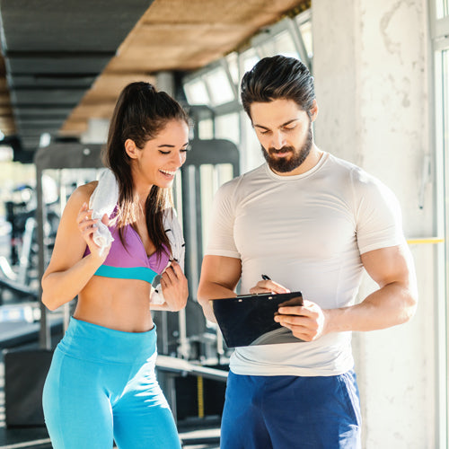 two people talking about fitness plan