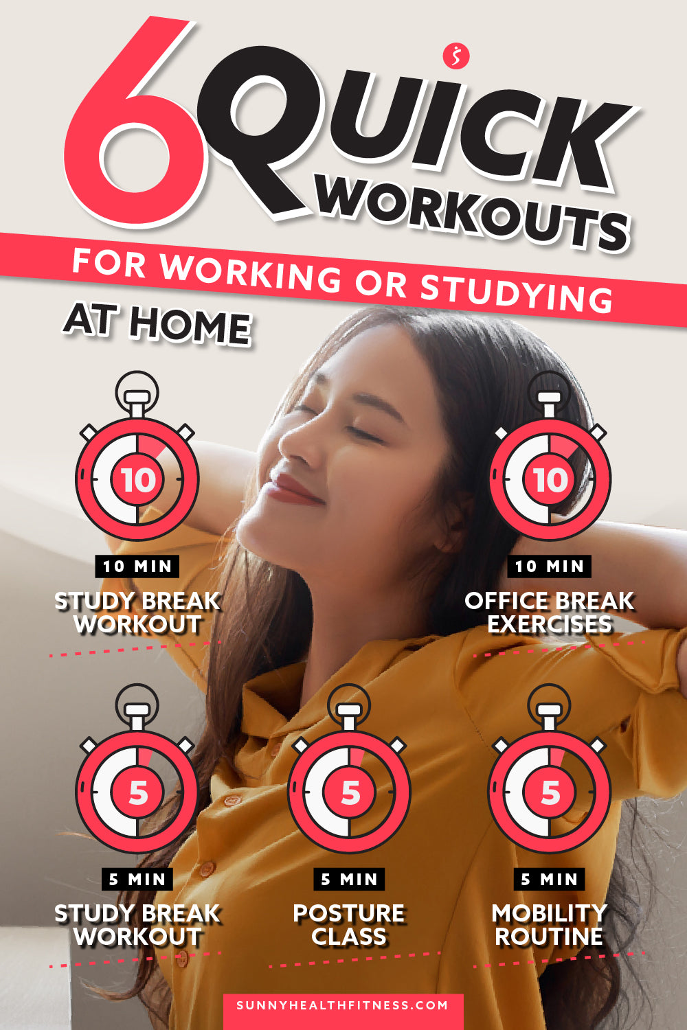 Quick Workouts for Working or Studying at Home Infographics