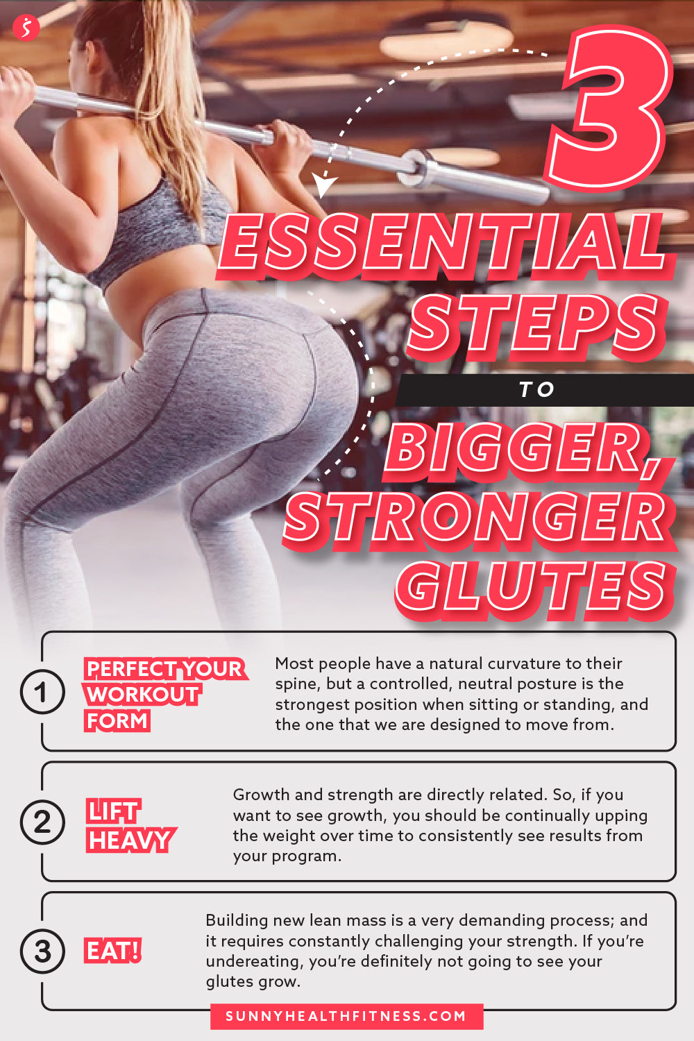 3 Essential Steps to Bigger, Stronger Glutes Infographic