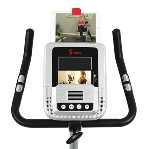 sunny-health-fitness-bikes-evo-fit-stationary-upright-bike-24-level-electro-magnetic-resistance-SF-B2969-device-holder