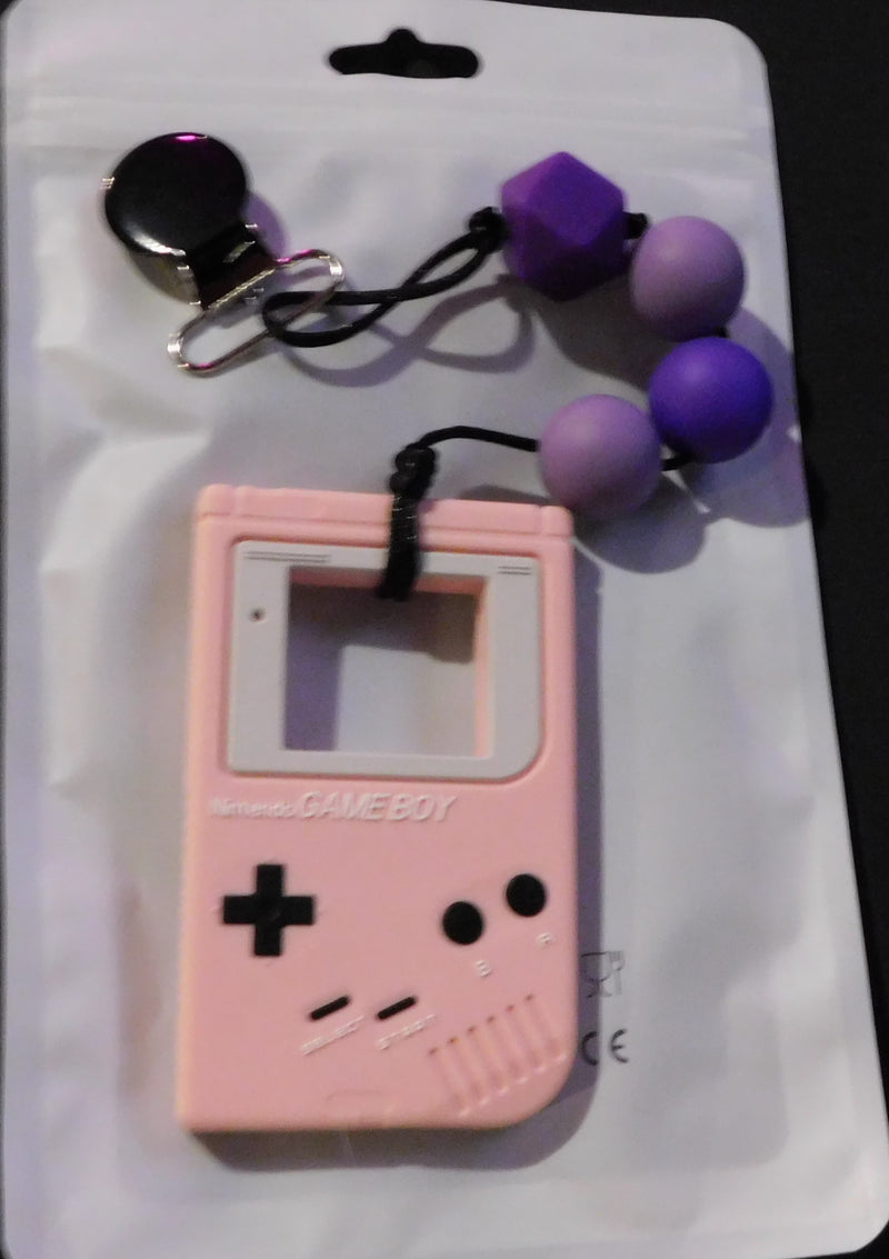 Pink Game Boy With Beads Clip On Chew