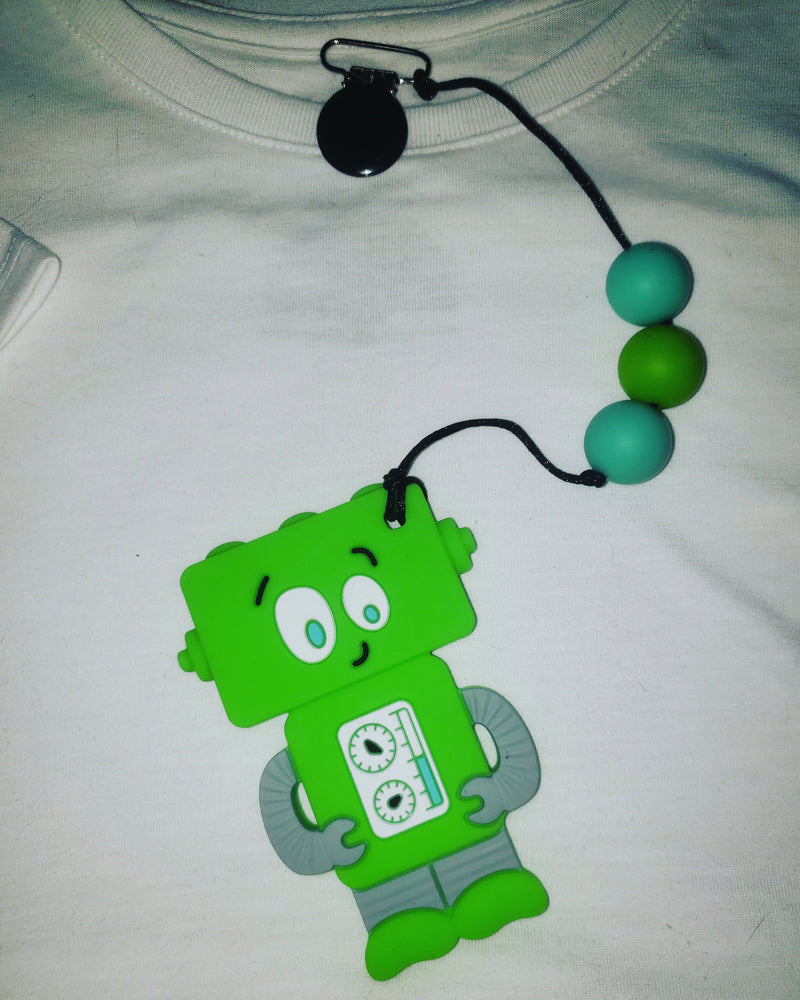 Green Robot Clip On Chew