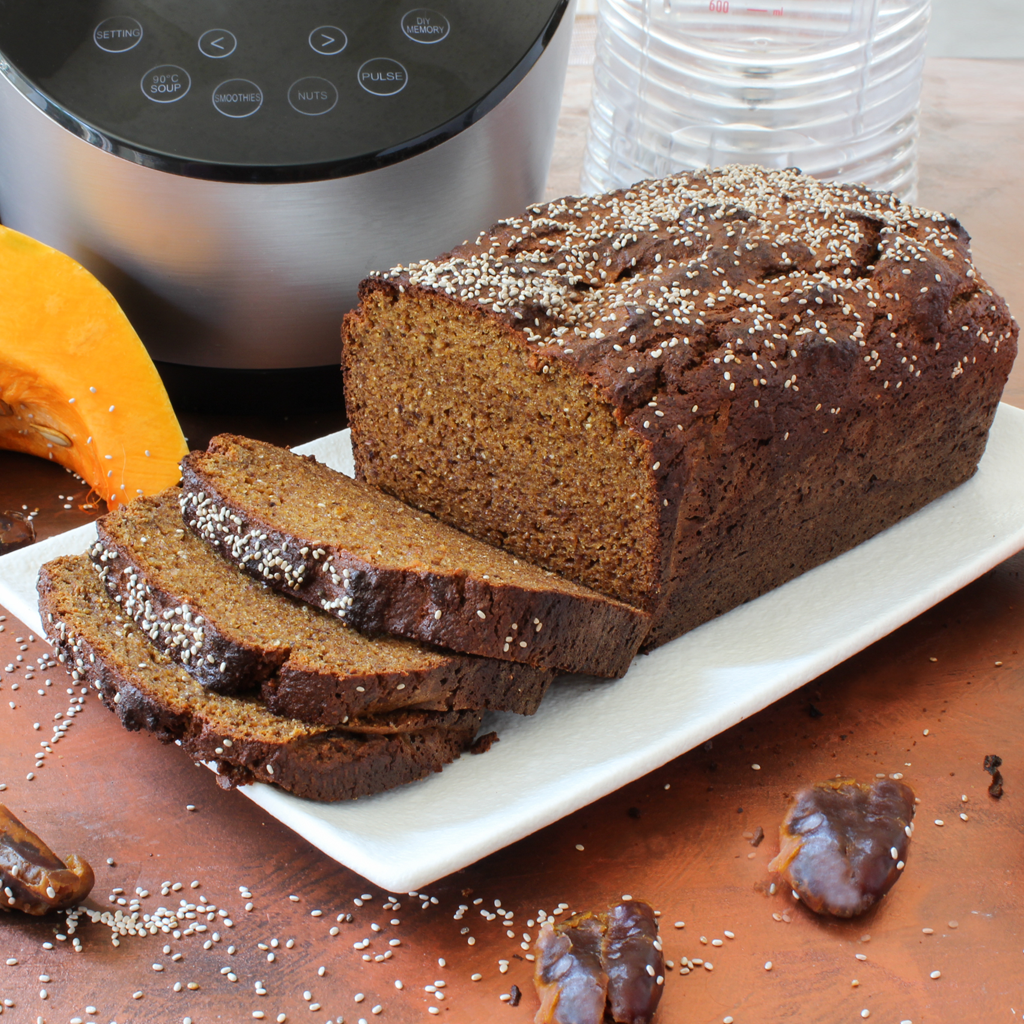 Best paleo pumpkin gingerbread loaf made in a blender