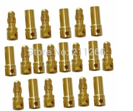 10 Pairs 3.5mm Gold Bullet Connector Plug Male Female