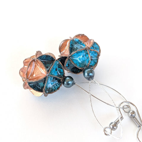 Earrings: paper folded long drop copper bottom blue top