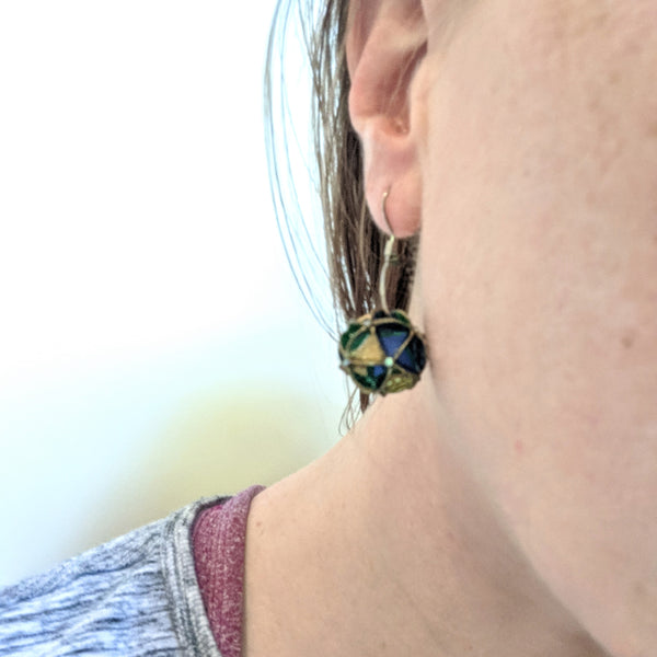 Earrings: paper folded short drop with rhinestones blue green and gold