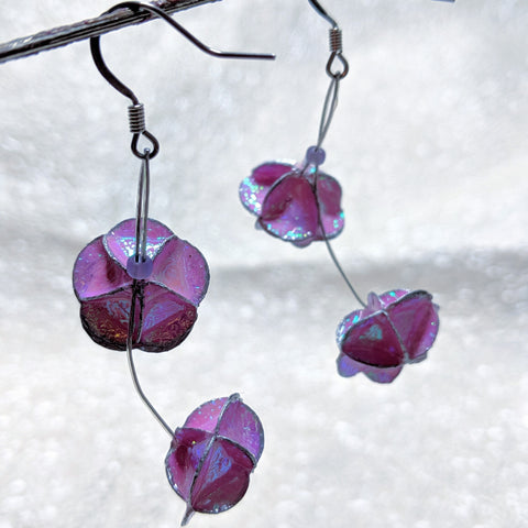 Earrings: paper pink dangle double floret