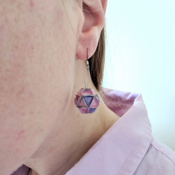 Earrings: folded paper  short drop sphere pink and purple