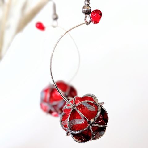 Earrings: folded paper globe long drop