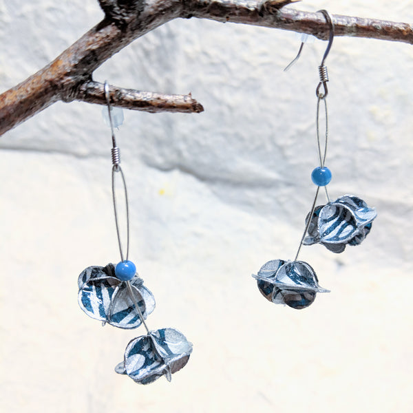 Earrings: folded paper, double florets, long drop