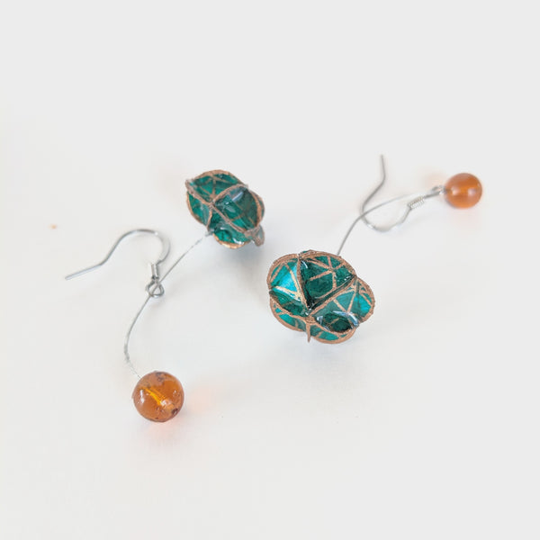 Earrings: Folded paper floret long drop green and copper