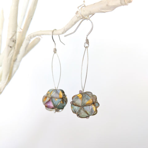 Earrings: folded paper sphere / globe pastels and gold