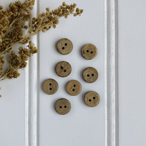 "3/8"" Coconut Shell Button - Light Brown"