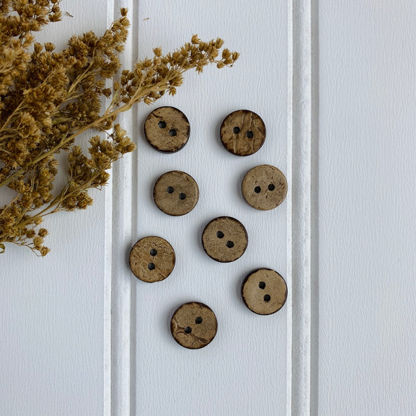 "7/16"" Coconut Shell Button - Light Brown"