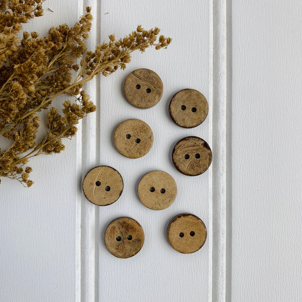 "9/16"" Coconut Shell Button - Light Brown"