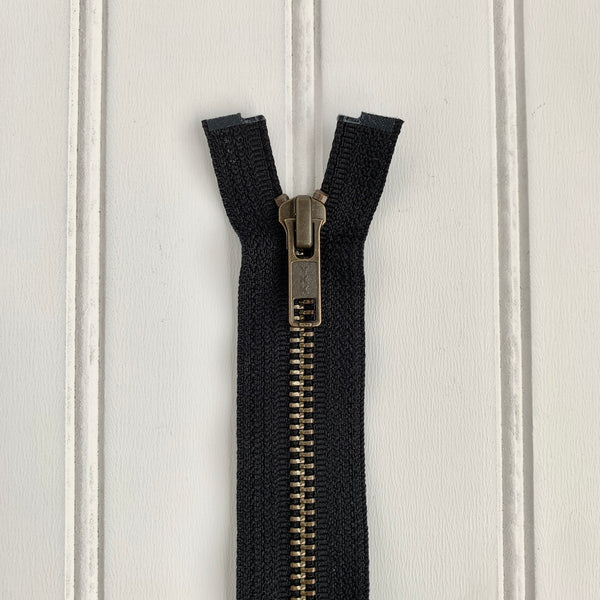 YKK Metal Jacket Zipper - Black & Antique Gold