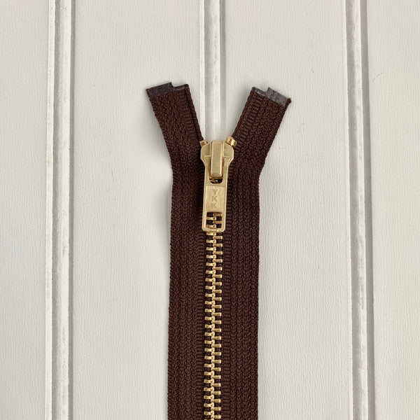 YKK Metal Jacket Zipper - Brown & Gold