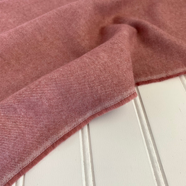 Organic Brushed Cotton Yak Wool Twill Flannel - Dusty Pink