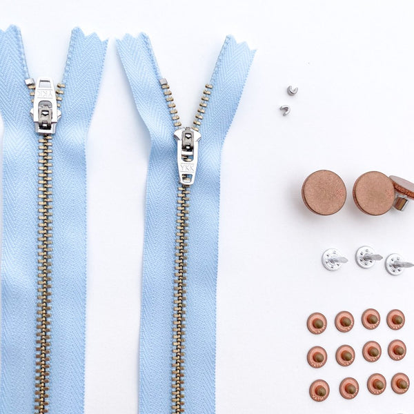 Kylie and the Machine - Jeans Hardware Kit Light Blue Zipper / Copper Hardware