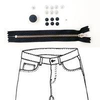 Kylie and the Machine - Jeans Hardware REFILL KIT - Black Zipper / Matte Black Hardware