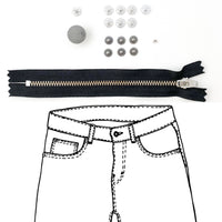 Kylie and the Machine - Jeans Hardware REFILL KIT - Black Zipper / Pewter Hardware