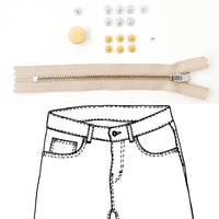 Kylie and the Machine - Jeans Hardware REFILL KIT - Beige Zipper / Gold Hardware