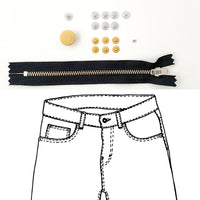 Kylie and the Machine - Jeans Hardware REFILL KIT - Black Zipper / Gold Hardware
