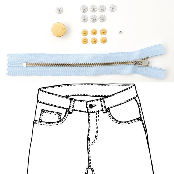 Kylie and the Machine - Jeans Hardware REFILL KIT - Light Blue Zipper / Gold Hardware