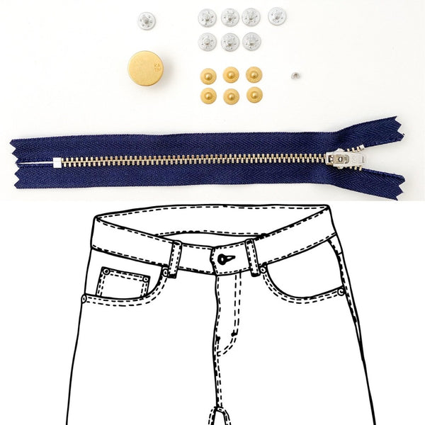 Kylie and the Machine - Jeans Hardware REFILL KIT - Navy Zipper / Gold Hardware