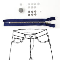 Kylie and the Machine - Jeans Hardware REFILL KIT - Navy Zipper / Pewter Hardware