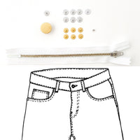 Kylie and the Machine - Jeans Hardware REFILL KIT - White Zipper / Gold Hardware