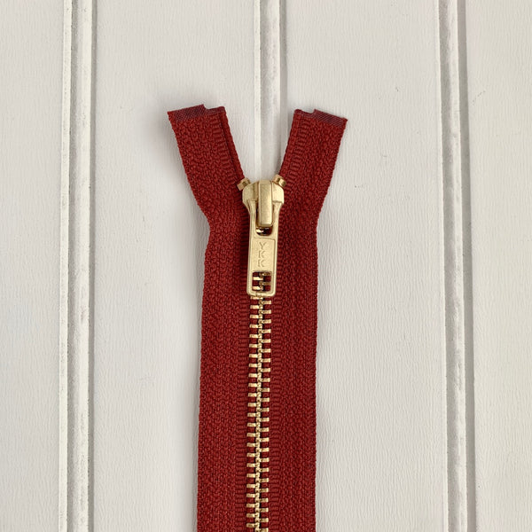 YKK Metal Jacket Zipper - Rust & Gold