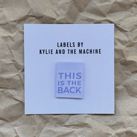Kylie and the Machine This is The Back Labels