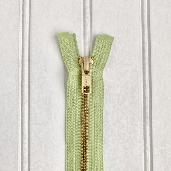 YKK Metal Jacket Zipper - Lime Green & Gold