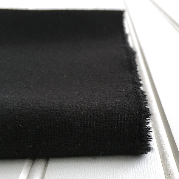 close-up of folded black raw silk noil