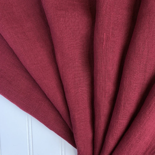cranberry red washed linen