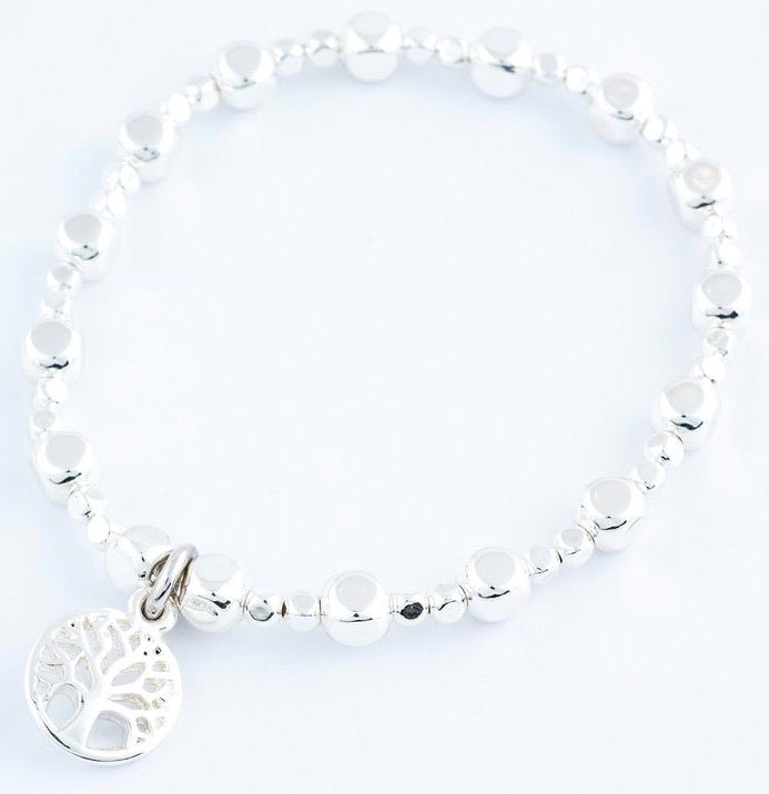 Tree of Life Charm Stretch Bracelet in Silver