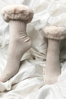Stacey Silk Blend Faux Fur Trim Socks