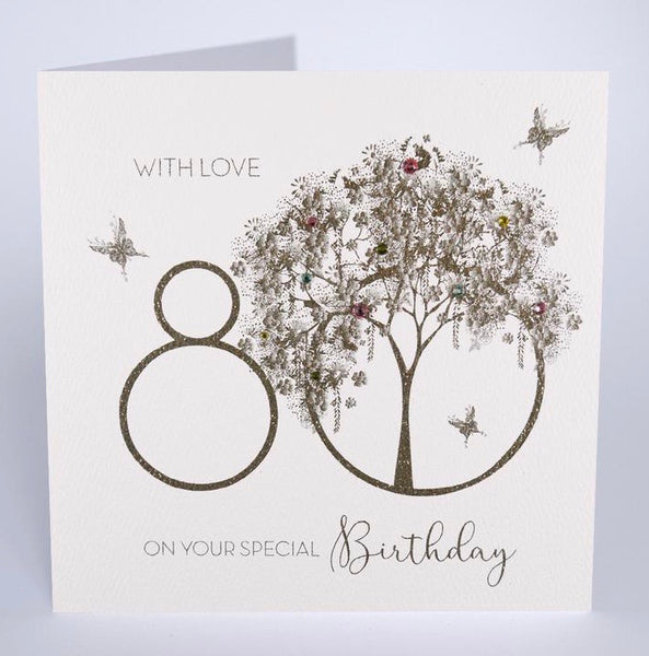 GS26 - 80th With Love Tree Birthday Card