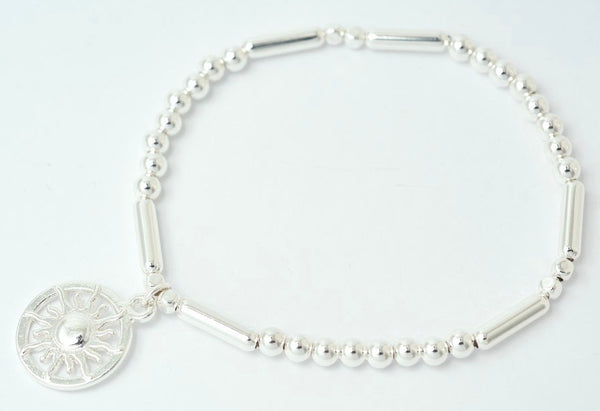 Sun Charm Stretch Bracelet in Silver