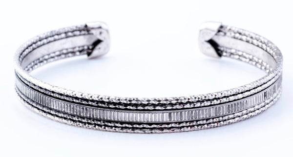 Crystal Cut Bangle Bracelet in Silver
