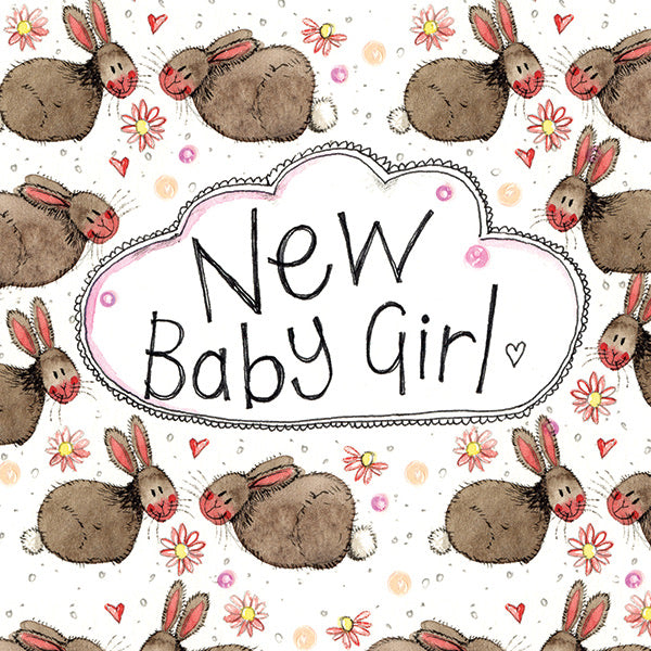 LS122 - Rabbit New Baby Girl Card