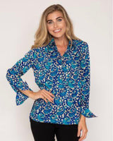Rosemary Shirt in Royal Blue and Turquoise Swirl